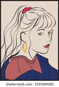 Abstract colorful woman face illustration with gold earring - Girl line art portrait print for tee t shirt or poster - Vector