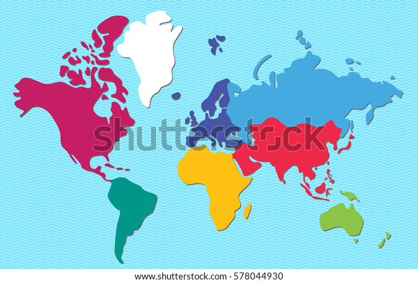 Abstract Colorful World Map Continents Isolated Stock ...