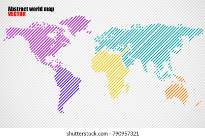 Abstract colorful world map with lines. World stripes map. Vector