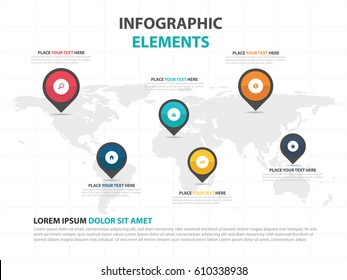 Abstract colorful worldmap and pin business Infographics elements, presentation template flat design vector illustration for web design marketing advertising