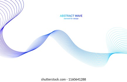 Abstract colorfull wave element for design. Digital frequency track equalizer. Stylized line art background.Vector illustration.Wave with lines created using blend tool.Curved wavy line, smooth stripe