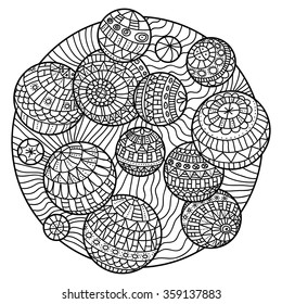 Abstract coloring book for adults with balls.
