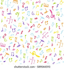 Abstract coloring music notes on seamless pattern background. Vector musical illustration melody decoration