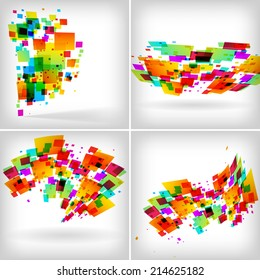 Abstract colour backgrounds set on white - vector illustration