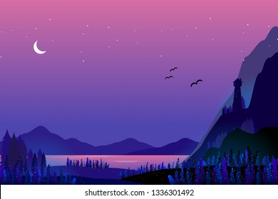 Abstract coloured light house and sea landscape in vivid vector. purple sea with starry night. Garden grown in the dark. beautiful vector illustration. Sea and mountain contrat wallpaper background