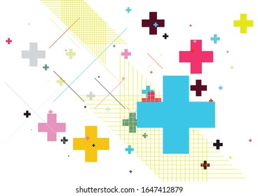 Abstract colourful background created with plus sign. Vector illustration.