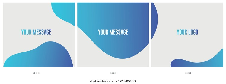Abstract colourful blue aqua background, carousel post for social media posts