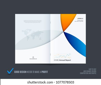 Abstract colourful brochure in material design style, modern catalog, centerfold cover, flyer in A4
