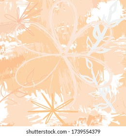 Abstract colourful  flowers with paint brush and strokes, scribble pattern background. creative pink floral nice hand drawn and splash colours for your design.