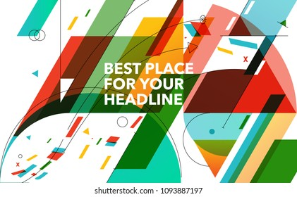 Abstract colourful geometry background made from basic shapes.