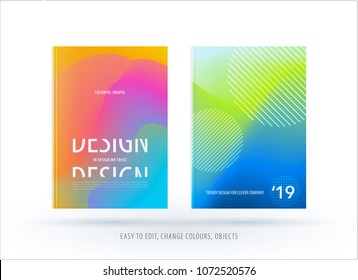 Abstract colourful graphic design of brochure in fluid liquid style with blurred smooth background. Set