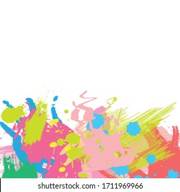 Abstract colourful paint brush and strokes, scribble lines pattern background. creative nice hand drawn and splash colours for your . Nice tone colours fantasy splash and grunge