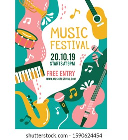 Abstract colourfull instruments waves music festival poster design template