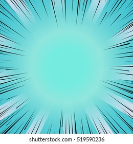 Abstract comic book flash bright blue explosion radial lines background. Vector illustration for superhero design. Light strip burst. Flash ray blast glow Manga cartoon hero fight cute print