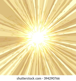 Abstract comic book radial lines background. Yellow and brown rays. Gold effect. Explosion with speed lines. Manga speed frame. Square stamp design. Vector illustration. EPS10.