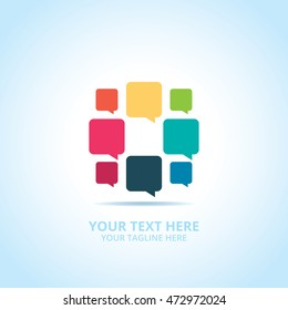 Abstract Communication logo, design concept, emblem, icon, flat logotype element for template.
