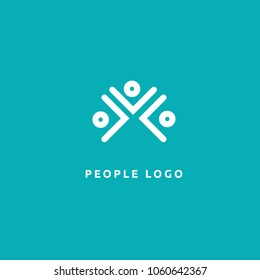 Abstract community logo icon vector design. Creative agency, social work, teamwork, business, advertising vector logo.  Editable Design. Happy motivated people in colorful logo. Team web icon.
