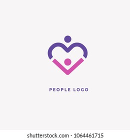 Abstract community logo vector design. Creative agency, social work, teamwork, business, advertising vector logo. Happy motivated people in colorful logo. Team web icon.