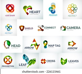 Abstract company logo vector collection - large set of business corporate logotypes