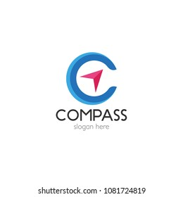 Abstract compass direction logo design template icon. Map arrow travel vector illustration