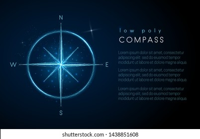 Abstract compass.  Low poly style design