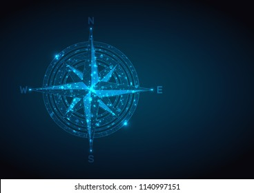 Abstract compass rose in the form of a starry sky or space, consisting of points, lines, and shapes in the form of planets. Vector business wireframe concept.