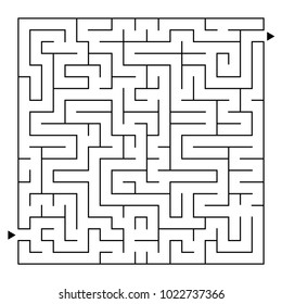 Abstract complex square isolated labyrinth. Black color on a white background. An interesting game for children and adults. Simple flat vector illustration.