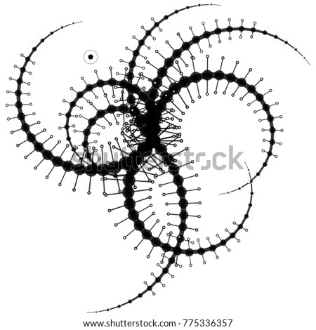 Abstract Complex Wireframe Structure Consisting Circles Stock Vector