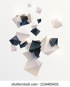 Abstract composition with 3D pyramids
