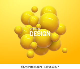 Abstract composition with 3d spheres cluster. Yellow glossy bubbles. Vector realistic illustration of balls. Trendy banner or poster design. Futuristic background