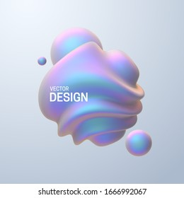Abstract composition with 3d spherical shapes. Pearlescent bubbles. Vector realistic illustration of fluid substance. Trendy banner or poster design. Futuristic background