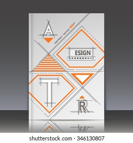 Abstract composition, A, R, T, letter, orange square blocks connecting, quadrate box construction, a4 brochure title sheet, gray backdrop, business card surface, modern light fiber, EPS10 illustration