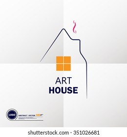 Abstract composition, art dwelling house icon, comfy box house image, sweet home symbol, lodge building window, real estate company logo sign, family comfort, cosy cabin, EPS10 vector illustration