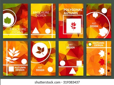 Abstract composition, autumn event card set, leaves theme advertisement collection, sale-out discount certificate, biological icon, botanical print, eco design, ecological EPS 10 vector illustration