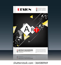 Abstract composition, black chequered field, mosaic texture, a4 brochure title sheet, yellow triangle icon, text frame surface, creative figure, rhomb logo sign, firm banner form, flier fashion, EPS10