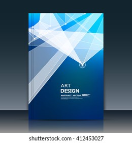 Abstract composition. Blue polygonal texture. Triangle part construction. Cybernetic dots, line plexus. A4 brochure title sheet. Creative figure icon. Crystal facets surface. Banner form. Flyer font.