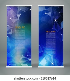 Abstract composition. Blue roll up brochure cover design. Info banner frame. Text font. Title sheet model set. Modern vector front page. Brand flag. Polygonal facets figure image icon. Ad flyer fiber