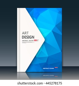 Abstract composition. Blue sapphire construction. White triangle section trademark. A4 brochure title sheet. Creative figure logo icon. Commercial offer banner form. Ad flyer fiber. Headline element.