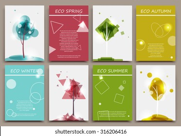 Abstract composition, business card set, certificate collection, ecological brochure title sheet, diploma, patent, charter, eco text frame, biological image, botanic print, EPS 10 vector illustration