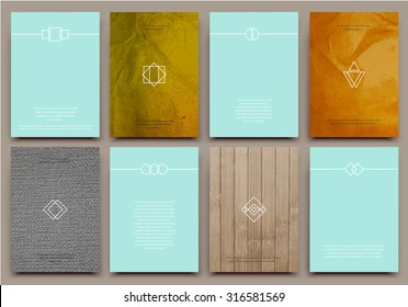Abstract composition, business card set, correspondence letter collection, brochure title sheet, certificate, diploma, patent, charter, text frame, geometric logo backdrop, EPS 10 vector illustration