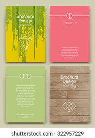 Abstract composition, business card set, bamboo wood structure, paint blur sheet, smeary brochure title, blotch correspondence collection, stain spotted sloppy paper, logo construction, EPS 10 vector
