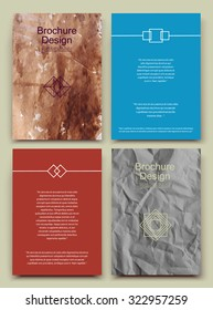 Abstract composition, business card set, crumpled a4 paper sheet, pattered parchment, wrinkled correspondence collection, mussy brochure, creazy papyrus logo construction, EPS 10 vector illustration
