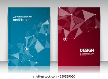 Abstract composition, business card set, correspondence collection, a4 brochure title sheet, blue, red surface, creative text frame, figure logo icon, molecular backdrop, scientific materials, EPS10