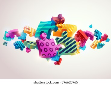 Abstract composition of colored puzzles