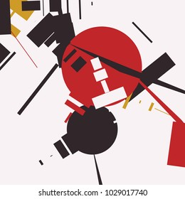 An abstract composition consisting of chaotically scattered geometric elements. Vector illustration of a style of supermatism. Creative retro poster