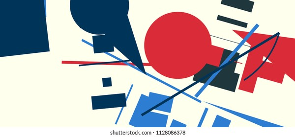An abstract composition consisting of chaotically scattered geometric elements. Vector illustration of a style of supermatism. Creative retro poster. The image format is suitable for printing on a mug