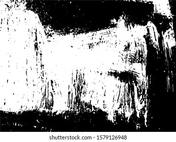 Abstract composition for design elements. Black and white painting on canvas with brush strokes. Abstract art background. Vector. Light Distressed Background. Ink Print Distress Background. Grunge art