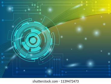 Abstract composition digital style. with lines, dots, line neon, white and black colors horizontal template on yellow, blue and green color background. Vector illustration.