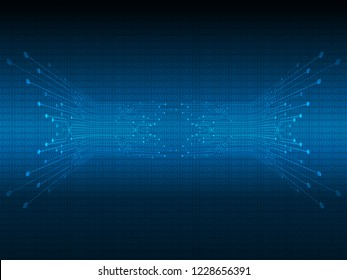 Abstract composition digital style. with shapes, Lines, Dots and Slanting lines for Circuit boards elements on dark blue background. Vector illustration for your business.