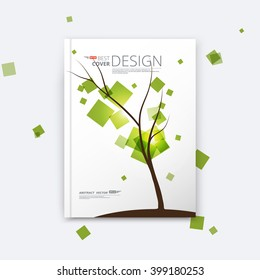 Abstract composition, elegant tree branch, square green leaf, spring leaves fly, business card, info brochure title sheet, plant print, font texture, seasonal sale discount event, fancy flier, EPS 10